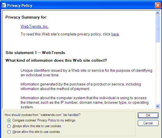 Privacy policy text från WebTrends på Microsofts webbplats